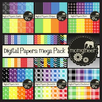 Digital Papers Mega Pack: Bundle of Designs in Bold Colors (Commercial Use)