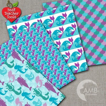 Digital Papers - Mermaid Digital Papers, Teal and Green  backgrounds AMB-1932