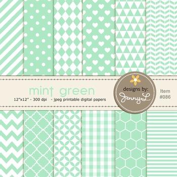 Digital Papers : Mint Green