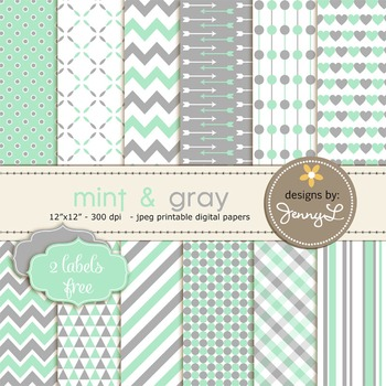 Digital Papers : Mint Green and Gray colors