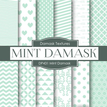 Digital Papers - Minty Damask (DP431)