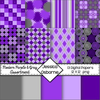 Digital Papers: Purple & Gray