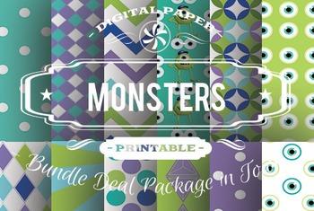 Digital Papers - Monster Patterns Bundle Deal