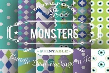 Digital Papers - Monster Patterns Bundle Deal