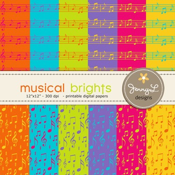Digital Papers : Musical Brights