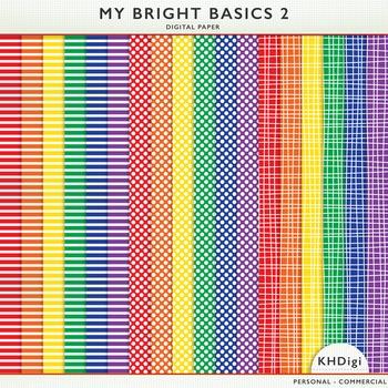 Digital Papers - My Bright Basics 1 - Stripes, polka dots