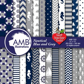Digital Papers - Nautical Digital Papers in blue and grey,
