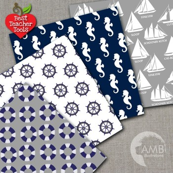Nautical Digital Papers in Blue and Grey, Naval Backgrounds, AMB-1251