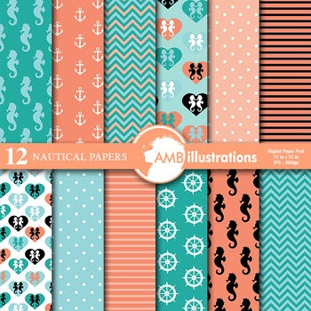 Digital Papers - Nautical papers and backgrounds AMB-561