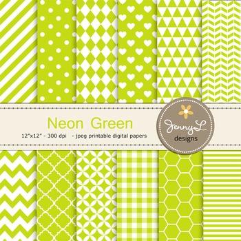 Digital Papers : Neon Green