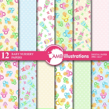 Digital Papers - Nursery Papers and backgrounds, AMB-841