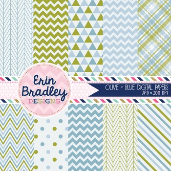 Digital Papers - Olive and Blue
