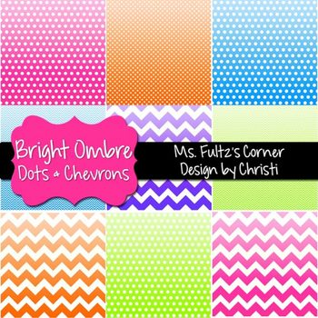 Digital Papers: Ombre Bright Dots & Chevrons