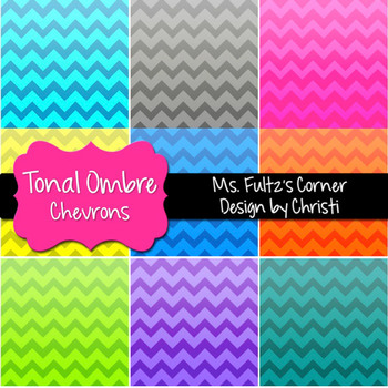 Digital Papers: Ombre Chevron