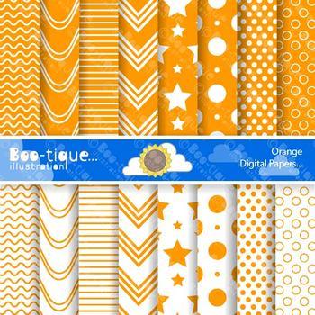 Digital Papers- Orange Digital Scrapbooking Papers. Scrapb