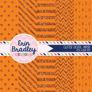 Digital Papers - Orange Glitter