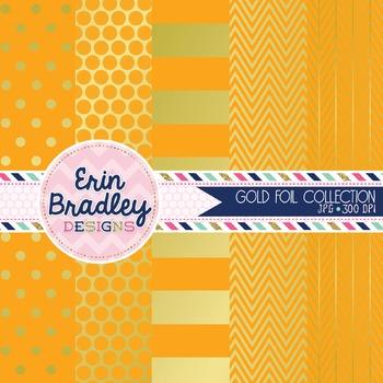 Digital Papers - Orange and Gold Foil