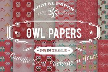 Digital Papers - Owl Patterns Bundle Deal