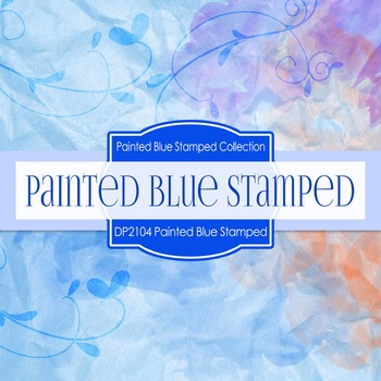 Digital Papers - Painted Blue Stamped Texture (DP2104)