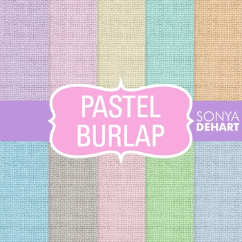 Digital Papers -  Pastel Burlap Linen Jute Fabric Textures