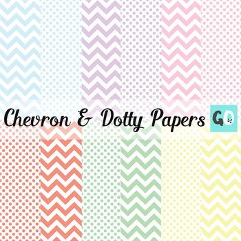 Digital Papers: Pastel Chevrons and Polka Dots