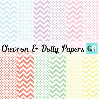 Digital Papers: Pastel Chevrons and Polka Dots
