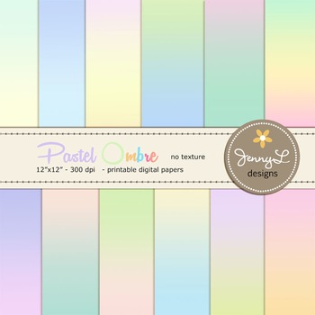 Digital Papers : Pastel Ombre