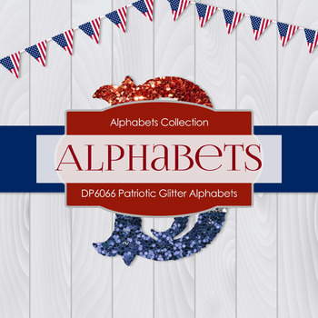 Digital Papers - Patriotic Glitter Alphabets (DP6066)