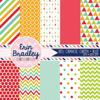Digital Papers - Patterned Background Graphics in Red Blue Orange Green