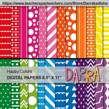 Digital Papers Patterned Background - Happy Colors - Commercial Use