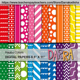Digital Papers Patterned Background - Happy Colors - Comme