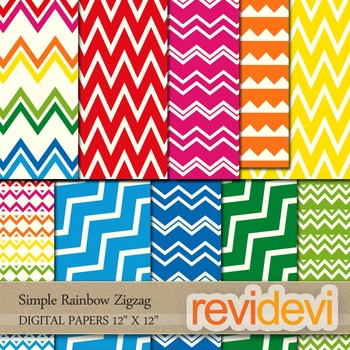 Digital Papers/ Patterned Background - Simple Rainbow Zigzag - Set of 10