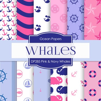 Digital Papers -  Pink And Navy Whales (DP285)