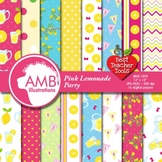 Pink Lemonade Stand Digital Papers, Summer Theme {Best Teacher Tools} AMB-895