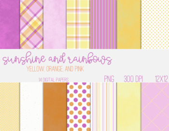 Digital Papers - Pink, Orange, and Yellow Patterns