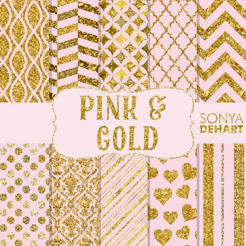 Digital Papers - Pink and Gold Foil Glitter Glam Papers