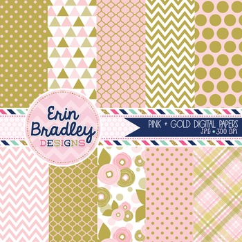 Digital Papers Pink and Gold Patterned Background Graphics