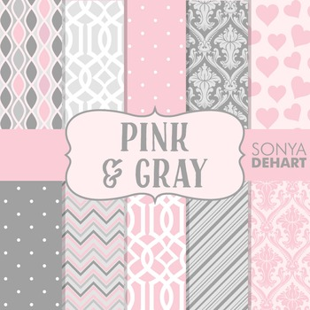 Digital Papers - Pink and Gray Paper Patterns