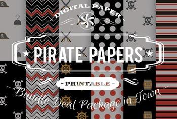 Digital Papers - Pirate Patterns Bundle Deal