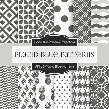 Digital Papers - Placid Blue Patterns (DP986)
