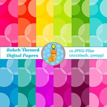 Digital Papers Polka Bokeh Rainbow