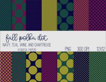 Digital Papers - Polka Dot Teal Wine Chartreuse and Navy