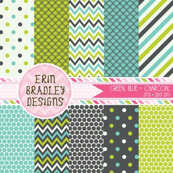 Digital Papers - Polka Dots Stripes Chevron Patterns
