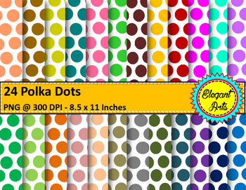 Digital Papers - Polka Dots with White Background