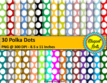 Digital Papers - Polka Dots with Colorful Background