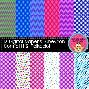 Digital Papers: Polkadot, Confetti, and Chevron