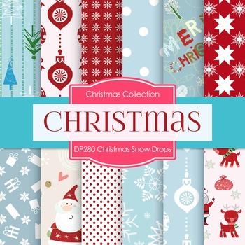 Digital Papers - Christmas Snow Drops (DP280)