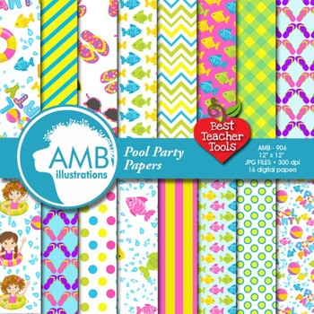 Pool Party Digital Paper and Backgrounds, {Best Teacher Tools}, AMB-906