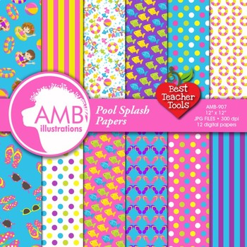 Digital Papers, Pool party digital paper and backgrounds,  AMB-907