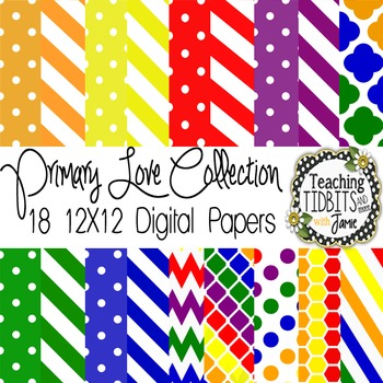 Digital Papers - Primary Colors Collection {Personal or Commercial Use}